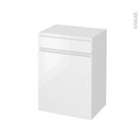 Meuble de salle de bains - Rangement bas - IPOMA Blanc brillant - 1 porte 1 tiroir - L50 x H70 x P37 cm