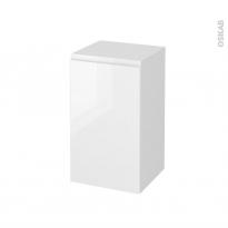 Meuble de salle de bains - Rangement bas - IPOMA Blanc brillant - 1 porte - L40 x H70 x P37 cm