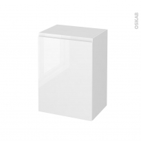 Meuble de salle de bains - Rangement bas - IPOMA Blanc brillant - 1 porte - L50 x H70 x P37 cm