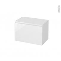 Meuble de salle de bains - Rangement bas - IPOMA Blanc brillant - 1 porte - L60 x H41 x P37 cm