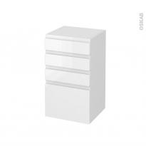 Meuble de salle de bains - Rangement bas - IPOMA Blanc brillant - 4 tiroirs - L40 x H70 x P37 cm