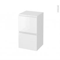 Meuble de salle de bains - Rangement bas - IPOMA Blanc brillant - 2 tiroirs 1 tiroir à l'anglaise - L40 x H70 x P37 cm