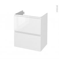 Meuble de salle de bains - Sous vasque - IPOMA Blanc brillant - 2 tiroirs - Côtés décors - L60 x H70 x P40 cm