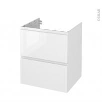 Meuble de salle de bains - Sous vasque - IPOMA Blanc brillant - 2 tiroirs - Côtés décors - L60 x H70 x P50 cm