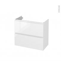 Meuble de salle de bains - Sous vasque - IPOMA Blanc brillant - 2 tiroirs - Côtés décors - L80 x H70 x P40 cm