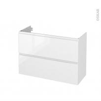 Meuble de salle de bains - Sous vasque - IPOMA Blanc brillant - 2 tiroirs - Côtés décors - L100 x H70 x P40 cm