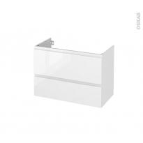 Meuble de salle de bains - Sous vasque - IPOMA Blanc brillant - 2 tiroirs - Côtés décors - L80 x H57 x P40 cm