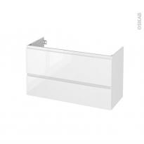 Meuble de salle de bains - Sous vasque - IPOMA Blanc brillant - 2 tiroirs - Côtés décors - L100 x H57 x P40 cm