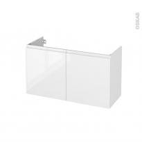 Meuble de salle de bains - Sous vasque - IPOMA Blanc brillant - 2 portes - Côtés décors - L100 x H57 x P40 cm