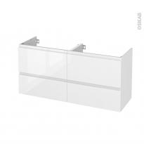 Meuble de salle de bains - Sous vasque double - IPOMA Blanc brillant - 4 tiroirs - Côtés décors - L120 x H57 x P40 cm