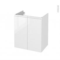 Meuble de salle de bains - Sous vasque - IPOMA Blanc brillant - 2 portes - Côtés décors - L60 x H70 x P40 cm