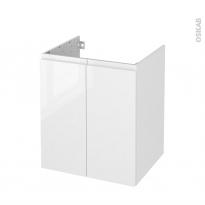 Meuble de salle de bains - Sous vasque - IPOMA Blanc brillant - 2 portes - Côtés décors - L60 x H70 x P50 cm