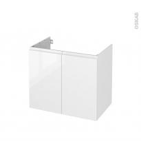 Meuble de salle de bains - Sous vasque - IPOMA Blanc brillant - 2 portes - Côtés décors - L80 x H70 x P50 cm