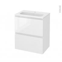 Meuble de salle de bains - Plan vasque REZO - IPOMA Blanc brillant - 2 tiroirs - Côtés décors - L60,5 x H71,5 x P40,5 cm