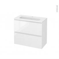 Meuble de salle de bains - Plan vasque REZO - IPOMA Blanc brillant - 2 tiroirs - Côtés décors - L80,5 x H71,5 x P40,5 cm