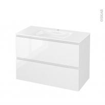 Meuble de salle de bains - Plan vasque VALA - IPOMA Blanc brillant - 2 tiroirs - Côtés décors - L100,5 x H71,2 x P50,5 cm
