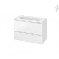 Meuble de salle de bains - Plan vasque REZO - IPOMA Blanc brillant - 2 tiroirs - Côtés décors - L80,5 x H58,5 x P40,5 cm