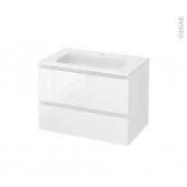 Meuble de salle de bains - Plan vasque REZO - IPOMA Blanc brillant - 2 tiroirs - Côtés décors - L80,5 x H58,5 x P50,5 cm