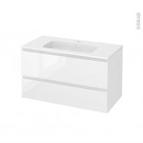 Meuble de salle de bains - Plan vasque REZO - IPOMA Blanc brillant - 2 tiroirs - Côtés décors - L100,5 x H58,5 x P50,5 cm