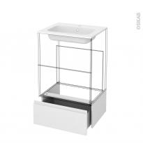 Tiroir sous meuble - Socle n°51 - IPOMA Blanc brillant - pour meuble salle de bains - L60 x H26 x P45 cm