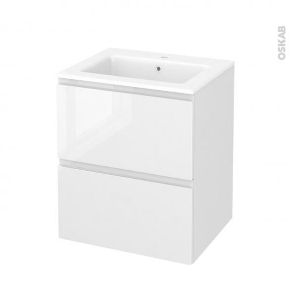 Meuble de salle de bains - Plan vasque NAJA - IPOMA Blanc brillant - 2 tiroirs - Côtés décors - L60,5 x H71,5 x P50,5 cm