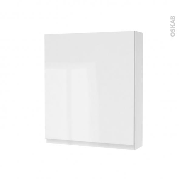 Armoire de toilette - Rangement haut - IPOMA Blanc brillant - 1 porte - Côtés blancs - L60 x H70 x P17 cm