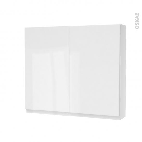 Armoire de toilette - Rangement haut - IPOMA Blanc brillant - 2 portes - Côtés décors - L80 x H70 x P17 cm
