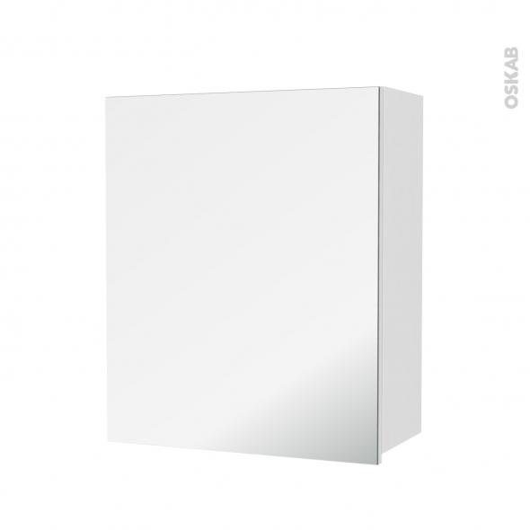 Armoire de salle de bains - Rangement haut - IPOMA Blanc brillant - 1 porte miroir - Côtés décors - L60 x H70 x P27 cm