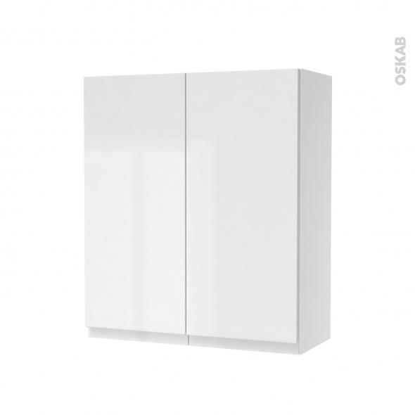 Armoire de salle de bains - Rangement haut - IPOMA Blanc brillant - 2 portes - Côtés blancs - L60 x H70 x P27 cm