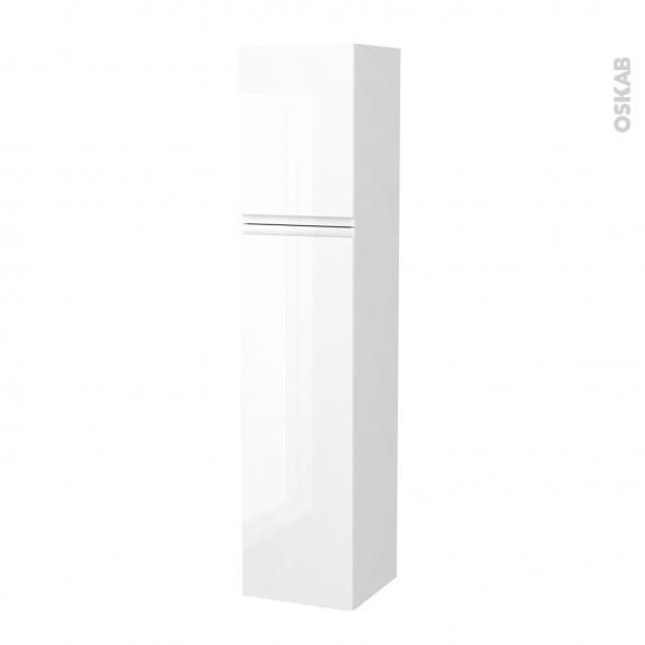 Colonne de salle de bains - 2 portes - IPOMA Blanc brillant - Côtés blancs - Version A - L40 x H182 x P40 cm