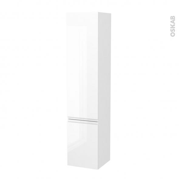 Colonne de salle de bains - 2 portes - IPOMA Blanc brillant - Côtés décors - Version B - L40 x H182 x P40 cm