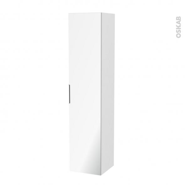 Colonne de salle de bains - 1 porte miroir - IPOMA Blanc brillant - Côtés décors - L40 x H182 x P40 cm
