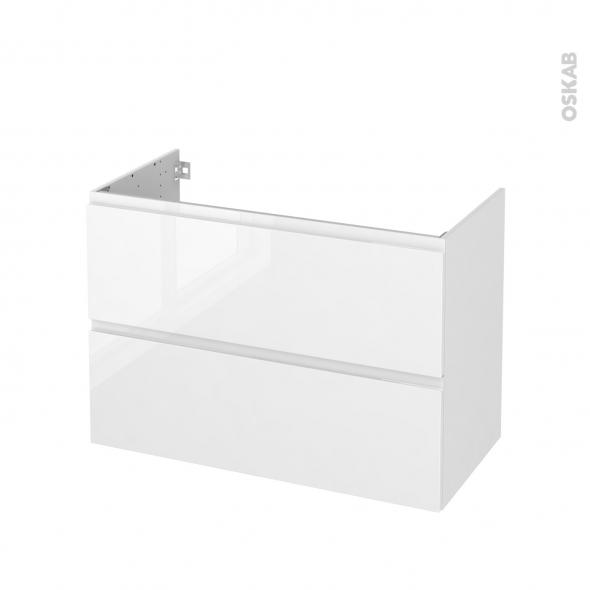 Meuble de salle de bains - Sous vasque - IPOMA Blanc brillant - 2 tiroirs - Côtés décors - L100 x H70 x P50 cm