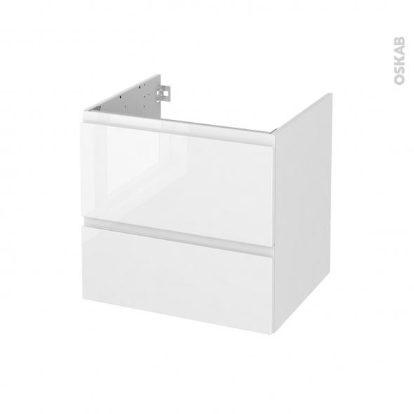 Meuble de salle de bains - Sous vasque - IPOMA Blanc brillant - 2 tiroirs - Côtés décors - L60 x H57 x P50 cm