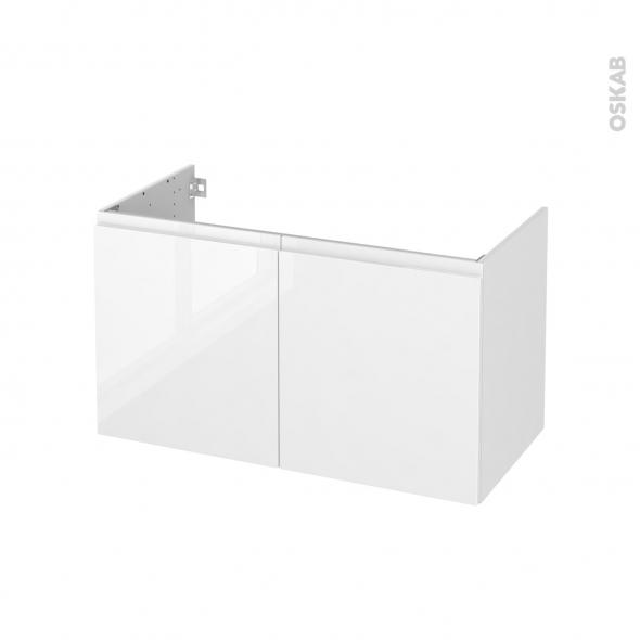 Meuble de salle de bains - Sous vasque - IPOMA Blanc brillant - 2 portes - Côtés décors - L100 x H57 x P50 cm