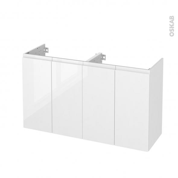 Meuble de salle de bains - Sous vasque double - IPOMA Blanc brillant - 4 portes - Côtés décors - L120 x H70 x P40 cm