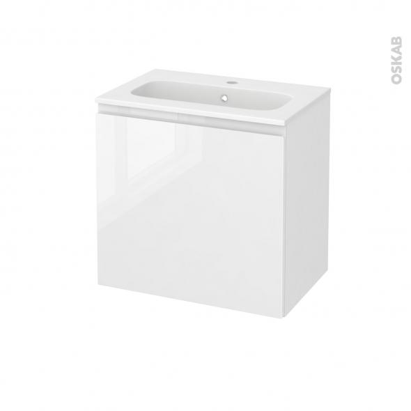 Meuble de salle de bains - Plan vasque REZO - IPOMA Blanc brillant - 1 porte - Côtés décors - L60,5 x H58,5 x P40,5 cm