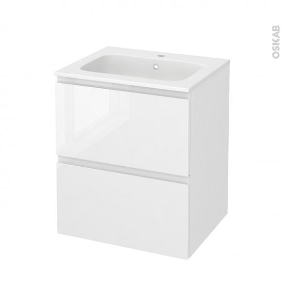 Meuble de salle de bains - Plan vasque REZO - IPOMA Blanc brillant - 2 tiroirs - Côtés décors - L60,5 x H71,5 x P50,5 cm