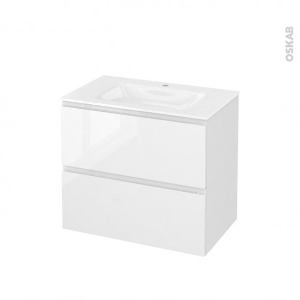 Meuble de salle de bains - Plan vasque VALA - IPOMA Blanc brillant - 2 tiroirs - Côtés décors - L80,5 x H71,2 x P50,5 cm