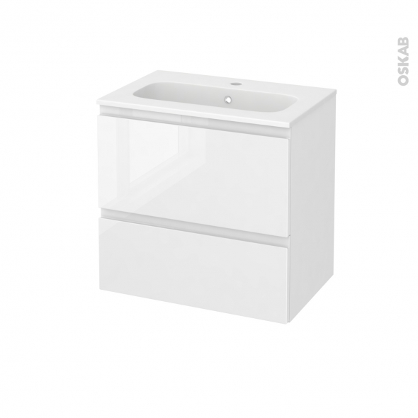 Meuble de salle de bains - Plan vasque REZO - IPOMA Blanc brillant - 2 tiroirs - Côtés décors - L60,5 x H58,5 x P40,5 cm