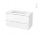 Meuble de salle de bains - Plan vasque REZO - IPOMA Blanc mat - 2 tiroirs - Côtés décors - L100,5 x H58,5 x P50,5 cm
