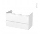Meuble de salle de bains - Sous vasque - IPOMA Blanc mat - 2 tiroirs - Côtés décors - L100 x H57 x P50 cm