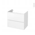 Meuble de salle de bains - Sous vasque - IPOMA Blanc mat - 2 tiroirs - Côtés décors - L80 x H70 x P50 cm