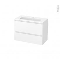 Meuble de salle de bains - Plan vasque REZO - IPOMA Blanc mat - 2 tiroirs - Côtés décors - L80,5 x H58,5 x P40,5 cm