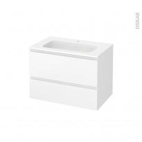 Meuble de salle de bains - Plan vasque REZO - IPOMA Blanc mat - 2 tiroirs - Côtés décors - L80,5 x H58,5 x P50,5 cm