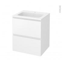 Meuble de salle de bains - Plan vasque REZO - IPOMA Blanc mat - 2 tiroirs - Côtés décors - L60,5 x H71,5 x P50,5 cm