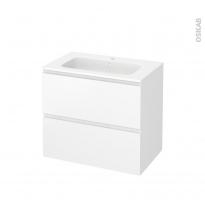 Meuble de salle de bains - Plan vasque REZO - IPOMA Blanc mat - 2 tiroirs - Côtés décors - L80,5 x H71,5 x P50,5 cm