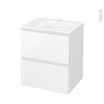 Meuble de salle de bains - Plan vasque VALA - IPOMA Blanc mat - 2 tiroirs - Côtés décors - L60,5 x H71,2 x P50,5 cm