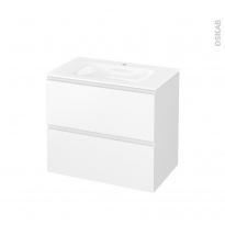 Meuble de salle de bains - Plan vasque VALA - IPOMA Blanc mat - 2 tiroirs - Côtés décors - L80,5 x H71,2 x P50,5 cm