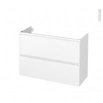 Meuble de salle de bains - Sous vasque - IPOMA Blanc mat - 2 tiroirs - Côtés blancs - L100 x H70 x P40 cm